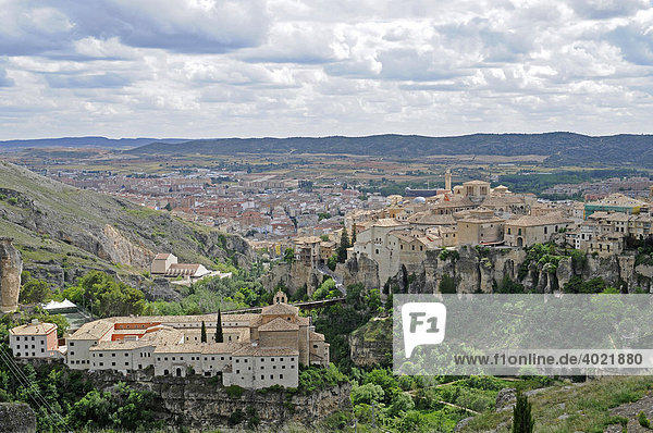 View over the valley and city with houses and Hotel Parador  Cuenca  Castile-La Mancha  Spain  Europe