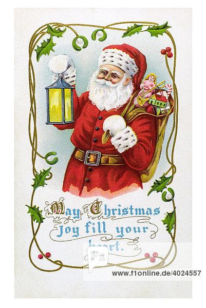 Historische englische weihnachtskarte weihnachtsmann may christmas joy fill your heart um - Weihnachtskarte englisch ...