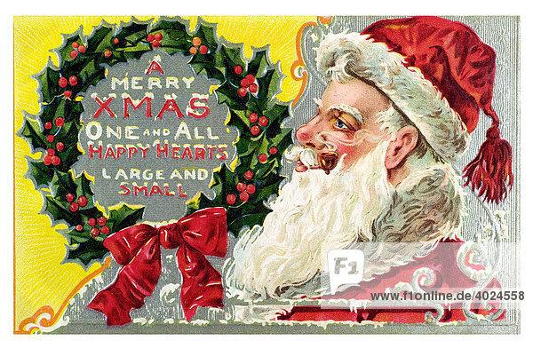 Historische englische weihnachtskarte weihnachtsmann - Weihnachtskarte englisch ...
