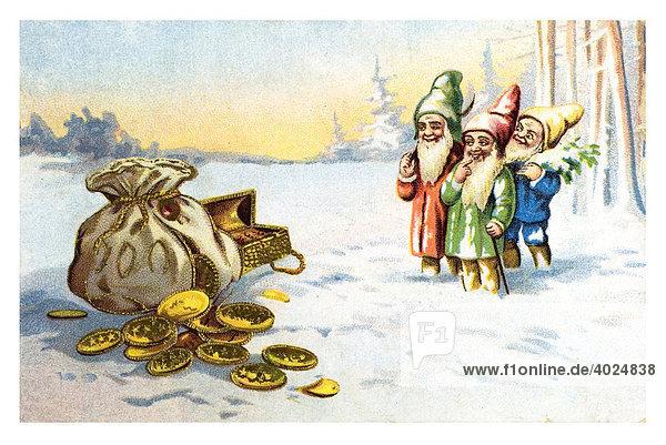Historische Neujahrsgrußkarte  drei Zwerge  Geldsack  Schatz  Wald