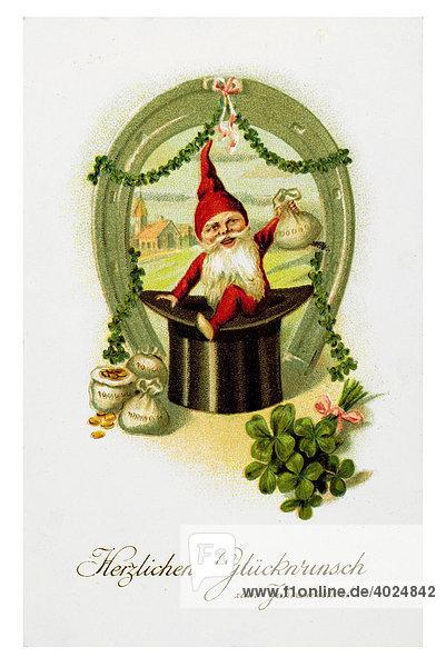 Historische Neujahrsgrußkarte  Zwerg  Hufeisen  Geldsäcke  Zylinder  Kleeblätter  Herzlichen Glückwunsch zum Jahreswechsel