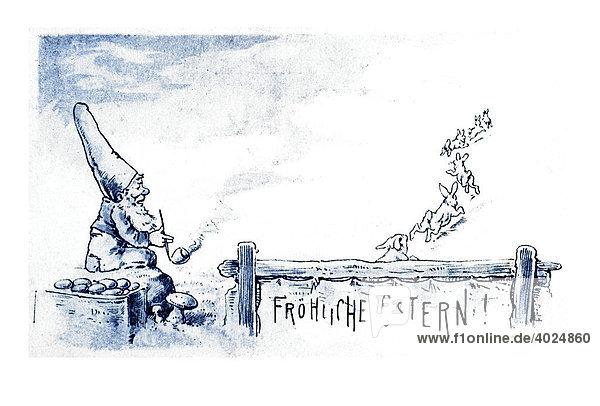 Historische Ostergrußkarte  Zwerg und Osterhasen  Fröhliche Ostern