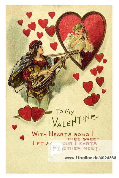 Valentin Grusskarte verliebtes Paar mit Herzen  Pärchen mit Herzchen und Herz  Romeo bringt Julia ein Ständchen mit seiner Laute