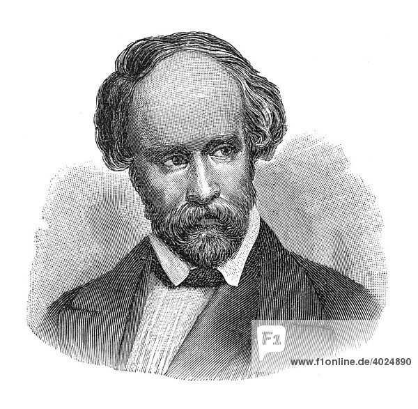 Holzschnitt  Christian Friedrich Hebbel  Portrait