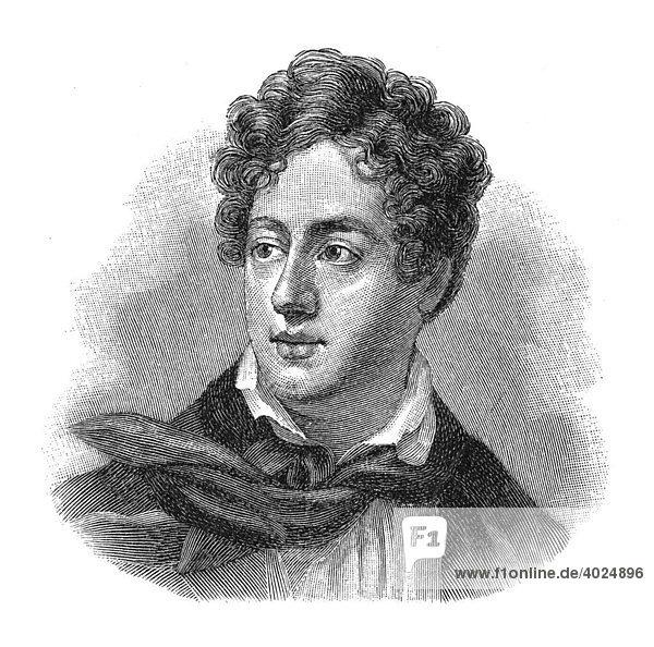 Holzschnitt  George Gordon Noel Byron  Portrait
