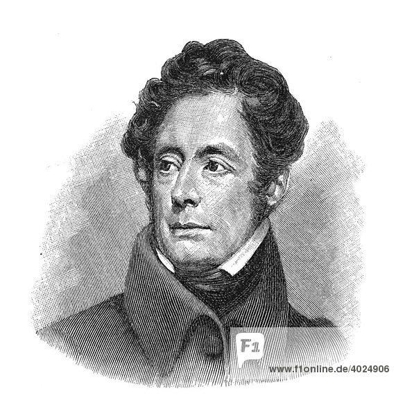 Holzschnitt  Alphonse de Lamartine  Portrait