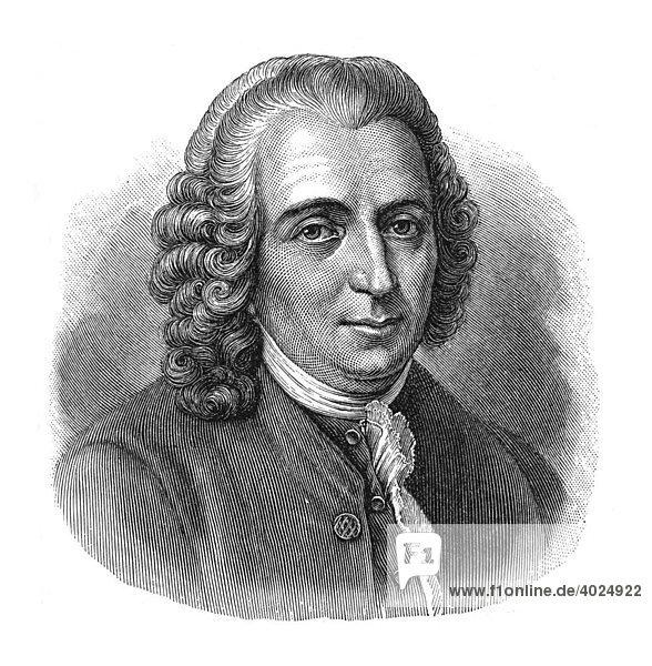 Holzschnitt  Carl von LinnÈ  Portrait