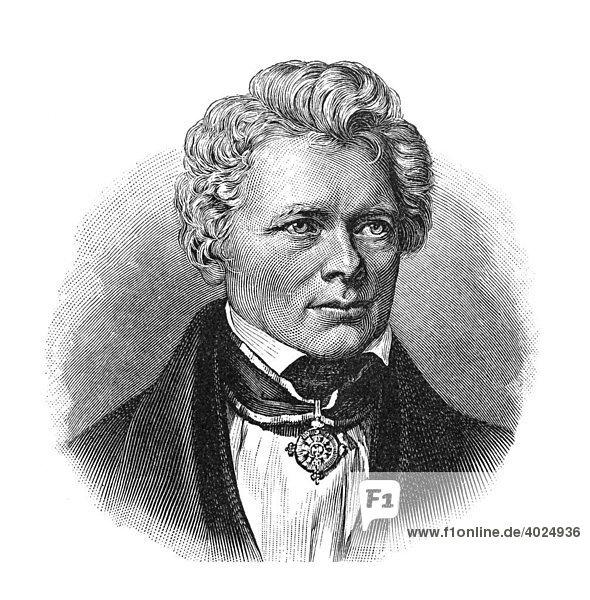 Holzschnitt  Friedrich Wilhelm Joseph Schelling  Ritter von  Portrait