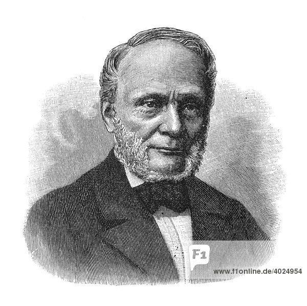 Holzschnitt  Rudolf Julius Emanuel Clausius  Portrait