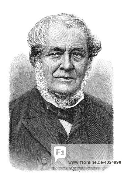Holzschnitt  Robert Wilhelm Eberhard Bunsen  Portrait