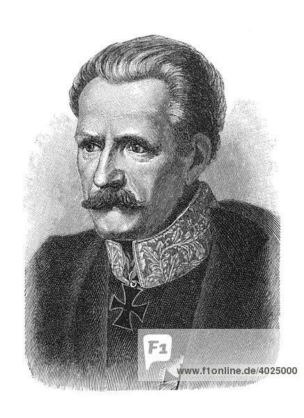 Holzschnitt  Gebhard Leberecht von Blücher  Fürst von Wahlstatt  Portrait