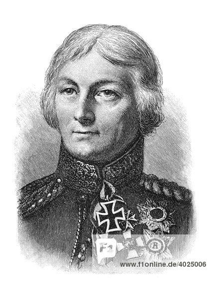 Holzschnitt  Johann David Ludwig Graf Yorck von Wartenburg  Portrait