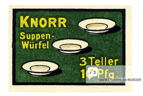Reklamemarke  Knorr Suppen-Würfel  3 Teller 10Pfg. Reklamemarke, Knorr Suppen-Würfel, 3 Teller 10Pfg.