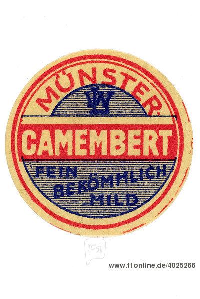 Historische Werbeillustration  Münster Camembert  fein bekömmlich mild Historische Werbeillustration, Münster Camembert, fein bekömmlich mild