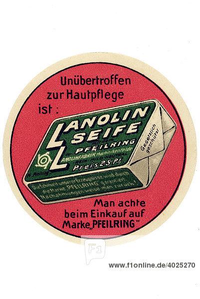 Historische Werbeillustration  Unübertroffen zur Hautpflege ist Lanolin Seife Historische Werbeillustration, Unübertroffen zur Hautpflege ist Lanolin Seife