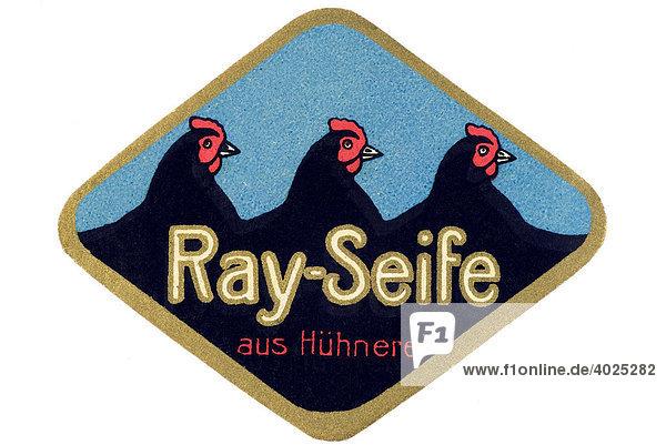 Historische Werbeillustration  Ray-Seife aus Hühnerei Historische Werbeillustration, Ray-Seife aus Hühnerei