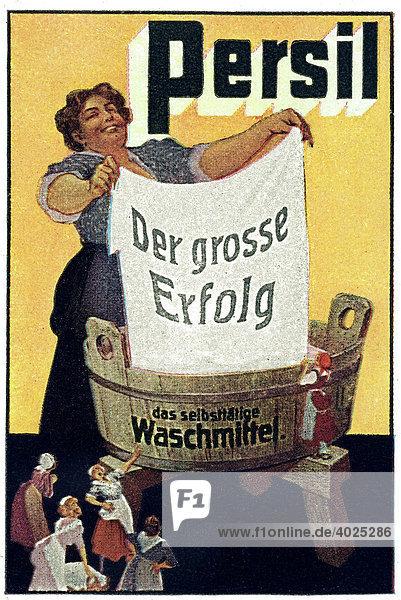Historische Werbeillustration  Persil der grosse Erfolg  das selbsttätige Waschmittel Historische Werbeillustration, Persil der grosse Erfolg, das selbsttätige Waschmittel