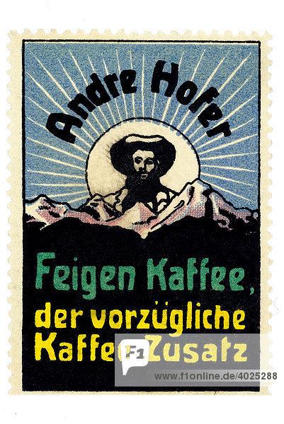 Historische Werbeillustration  Andre Hofer  Feigen Kaffee  der vorzügliche Kaffee Zusatz Historische Werbeillustration, Andre Hofer, Feigen Kaffee, der vorzügliche Kaffee Zusatz