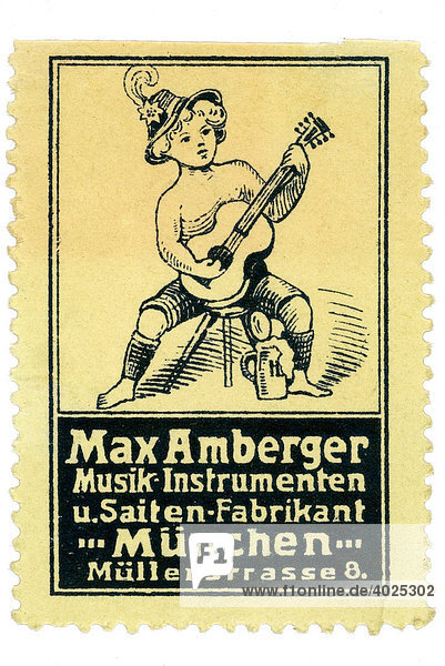 Reklamemarke  Max Amberger Musikinstrumenten u Saiten-Fabrikant München Reklamemarke, Max Amberger Musikinstrumenten u Saiten-Fabrikant München