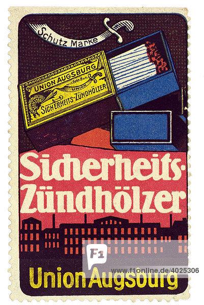 Reklamemarke  Sicherheits-Zündhölzer  Union Augsburg Reklamemarke, Sicherheits-Zündhölzer, Union Augsburg