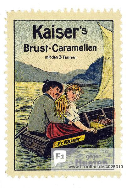 Reklamemarke  Kaiser's Brust-Caramellen gegen Husten Reklamemarke, Kaiser's Brust-Caramellen gegen Husten