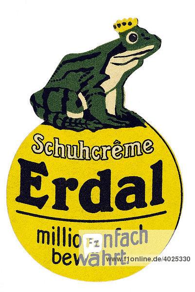 Reklamemarke  Schuhcreme Erdal  millionenfach bewährt Reklamemarke, Schuhcreme Erdal, millionenfach bewährt