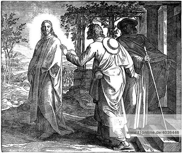 Holzschnitt  Die Jünger von Emmaus  Lukas  24  29  Neues Testament  Katholische Bilder-Bibel