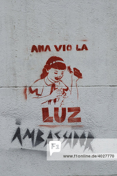 Schablonengraffiti in Palermo  Buenos Aires  Argentinien  Südamerika