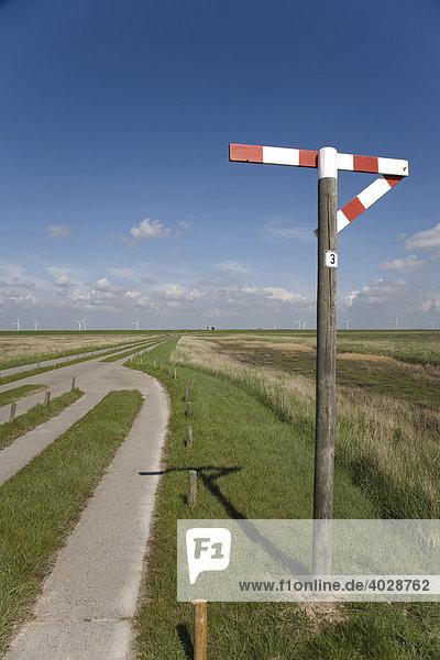 Einspuriger Plattenweg zur Hamburger Hallig  Signal zeigt Ausweichstelle an  Hamburger Hallig  Nordfriesland  Schleswig Holstein  Deutschland  Europa