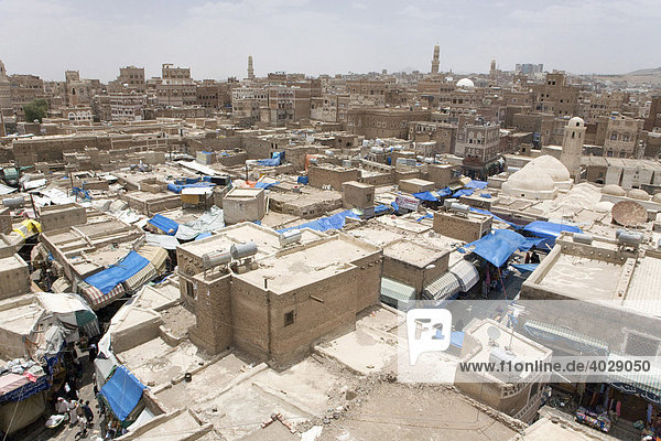 Roofs of the stalls on the souk  historic centre of San'a'  UNESCO World Heritage Site  Yemen  Middle East