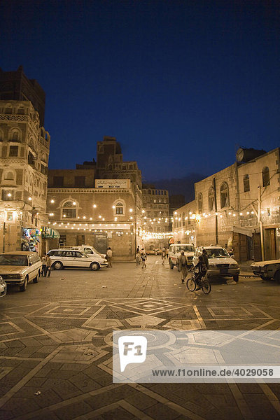 Historic centre lit up at night  buildings made of brick clay  San'a'  UNESCO World Heritage Site  Yemen  Middle East