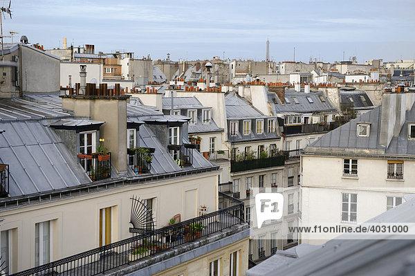 über den Dächern von Paris  Eiffelturm  Zentrum  Frankreich  Europa