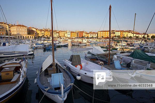 Boats  harbour  Rovinj  Adriatic  Istria  Croatia  Europe