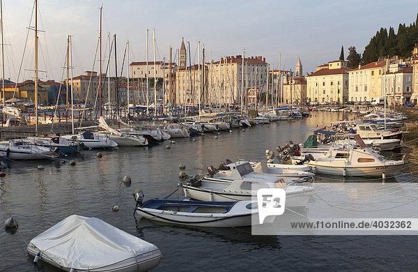 Boats in Piran Harbor  Istria  Slovenia  Europe