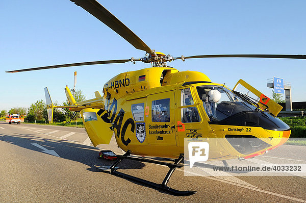 Christoph 22  ADAC rescue helicopter from the Federal Armed Forces Hospital Ulm  one person dies in a traffic accident after a head-on collision near the airport in Stuttgart  Baden-Wuerttemberg  Germany  Europe