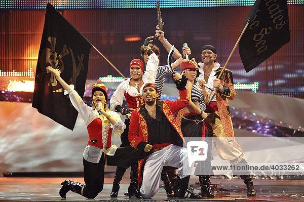 ESC Eurovision Song Contest  erste Generalprobe für das Finale  Pirates Of The Sea für Lettland  Belgrad  Serbien  Europa