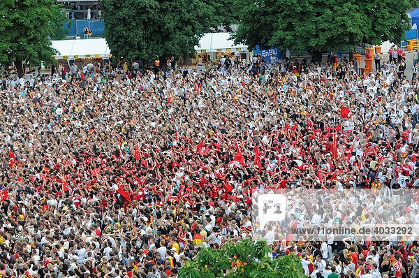The 2008 UEFA European Football Championship  Public Viewing  Schlossplatz Square  Turkish football fans cheering because of the first goal  Stuttgart  Baden-Wuerttemberg  Germany  Europe