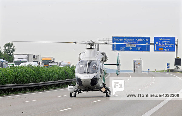Police helicopter on motorway A 81  Stuttgart-Korntal  Baden-Wuerttemberg  Germany  Europe