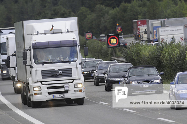 Traffic jam after a road accident on a freeway  Altingen  Baden-Wuerttemberg  Germany  Europe