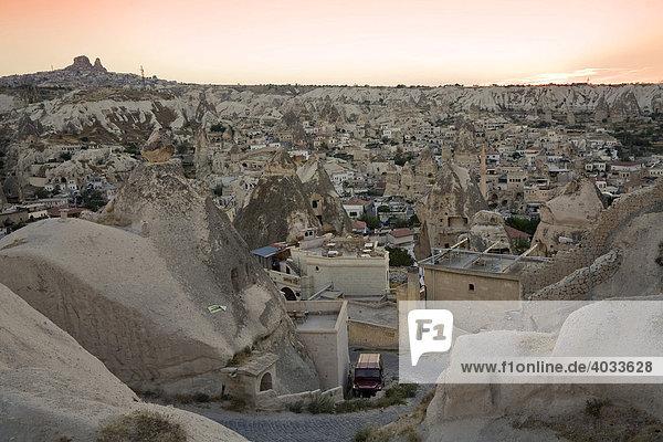 Goereme in the evening  UNESCO World Cultural Heritage  Cappadocia  Central Anatolia  Turkey  Asia