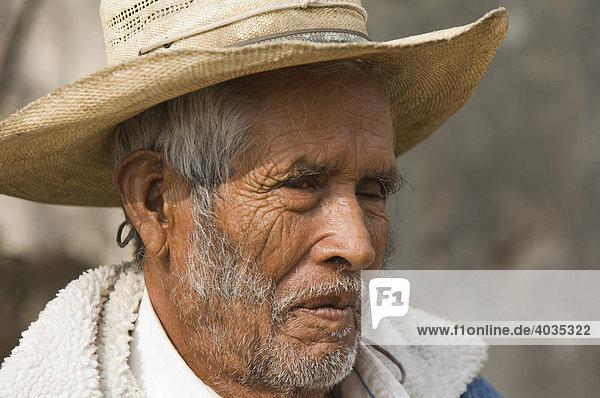 Alter Mann  Porträt  Mineral de Possos  Provinz Guanajuato  Mexiko