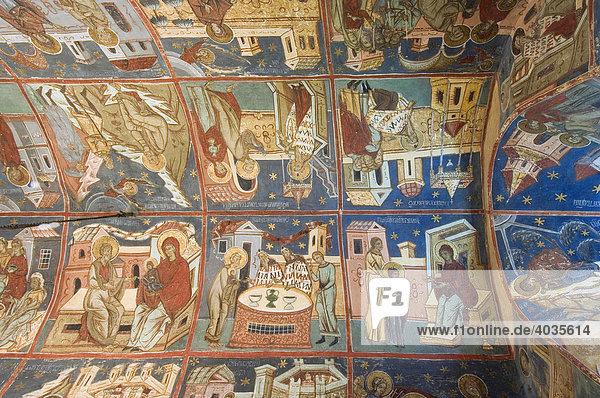 Innenfresken  Klosterkirche Maria Aufnahme in den Himmel und Heiliger Georg  Welterbe der UNESCO  Humor  Süd-Bukowina  Moldau  Rumänien  Europa