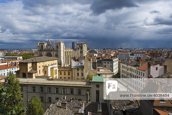 Cityscape and Saint Jean Cathedral in Lyon  France  Europe