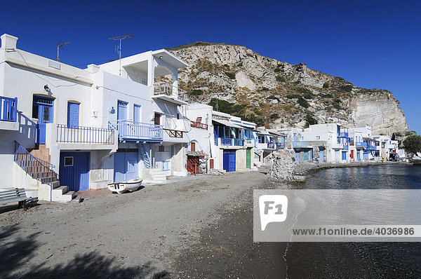 Colourful houses beside the ocean of the fishing village of Klima on Milos Island  Cyclades Island Group  Greece  Europe