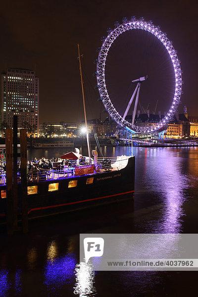 London Eye  Riesenrad an der Themse  London  England  Großbritannien  Europa
