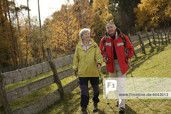 Senioren Paar beim Nordic Walking