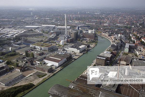 Muenster Harbour with gas and steam turbines  combined cycle  at the combined heat and power station  Muenster public utility company  North Rhine-Westphalia  Germany  Europe