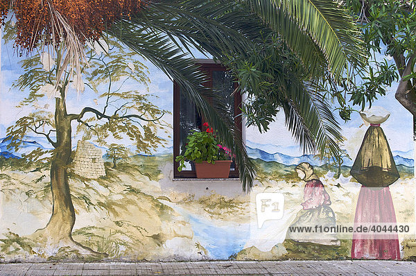 Wandmalerei  Murales in Telti  Sardinien  Italien  Europa