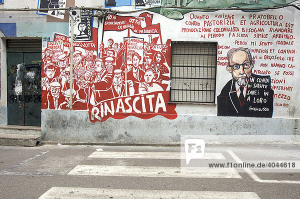 Murales  politische Wandmalerei  Orgosolo  Sardinien  Italien  Europa
