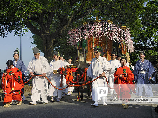 Shinto procession of the royal household of the Saio Dai during the Aoi Festival in Kyoto  Kansai  Japan  Asia